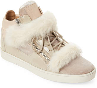 Giuseppe Zanotti Pearl Kriss Winter Real Fur Mid-Top Sneakers