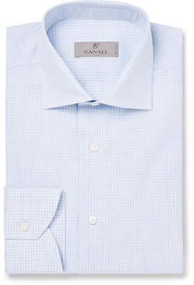 Canali Light-Blue Cutaway-Collar Checked Cotton Shirt