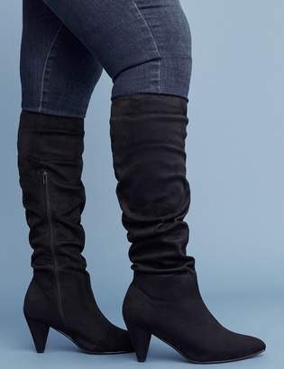 Faux Suede Tall Slouch Heeled Boot