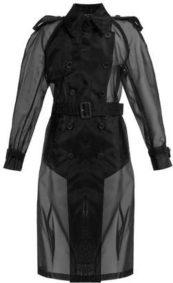 Maison Margiela Double Breasted Organza Trench Coat - Womens - Black