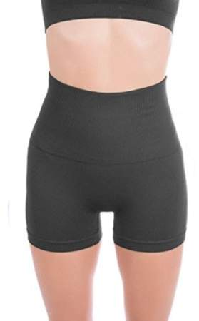 Generic Breathable & Stretchy High Waist Tummy Control Workout Yoga Shorts For Women - SMALL CHARCOAL