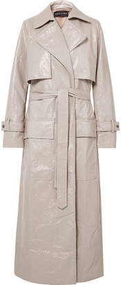 Michael Lo Sordo Crinkled-vinyl Trench Coat