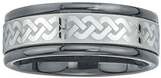 FINE JEWELRY Mens Ceramic and Tungsten Laser Etched Comfort-Fit Band Ring