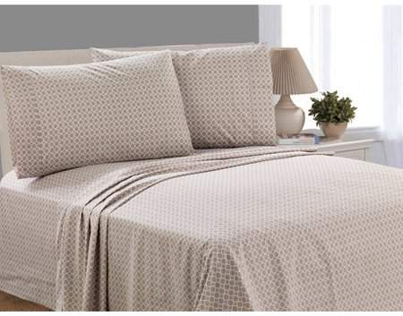 Mainstays 200 Thread Count Percale Queen Sheet Set, Taupe Splash