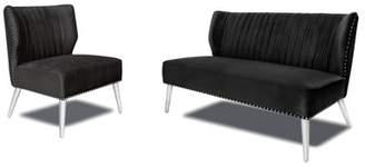 Uptown Club Luca Collection Velvet Upholstery with Nailhead Trim Settee and Chair Set, Black