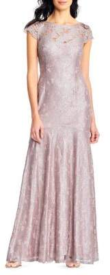 Adrianna Papell Long Metallic Lace Mermaid Gown
