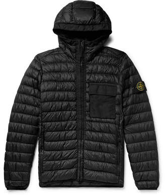 Stone Island Quilted Garment-Dyed Micro-Ripstop Hooded Down Jacket