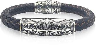 Blackbourne Engraved Stainless Steel and Braided Leather Men's Bracelet