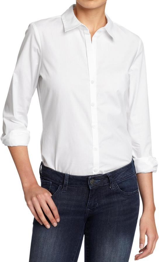 Old Navy Women's Poplin-Stretch Dress Shirts