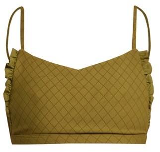 Made By Dawn - Petal Ruffle Scoop Neck Bikini Top - Womens - Green