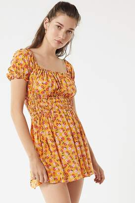 Urban Outfitters Sophia Floral Smocked Romper