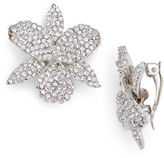Nina Pave Swarovski Crystal Orchid Clip Earrings