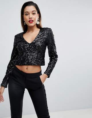 Asos Design Sexy Plunge Long Sleeve Sequin Top