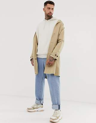 Asos Design DESIGN longline trench coat in camel