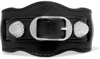 Balenciaga - Giant Textured-leather And Silver-tone Bracelet - Black $245 thestylecure.com