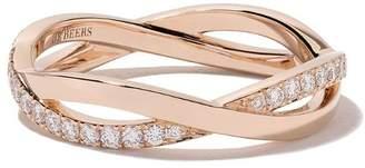 De Beers 18kt rose gold Infinity half pave diamond band