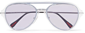 Prada Aviator-style Silver-tone And Acetate Sunglasses - Purple