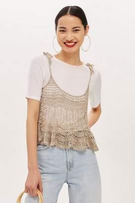 Topshop Womens Petite Metallic Crochet Swing Top