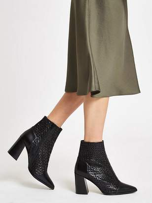 River Island Leather Weave Ankle Boot - Black