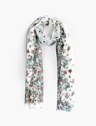 Lucky Brand FADED FLORAL DOT SCARF