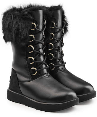 UGG Aya Waterproof Leather Boots with Shearling Insole
