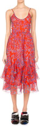 Neiman Marcus Pascal Millet Floral-Print Chiffon Ruffle-Hem Midi Dress, Orange