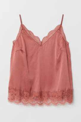 H&M Satin Camisole Top with Lace - Pink