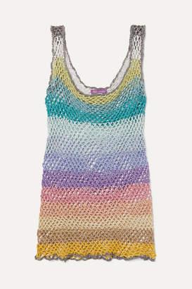 Rose Carmine - Metallic Striped Crochet-knit Tank - Baby pink