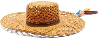 Lafayette House Of Reed 1 Feather Trimmed Straw Panama Hat - Womens - Tan