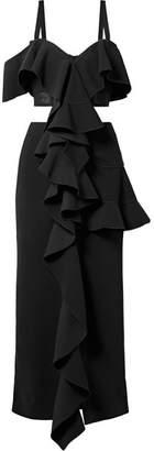 Proenza Schouler Cutout Ruffled Cady Gown - Black