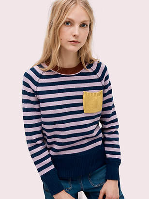 Kate Spade Stripe Crewneck Sweater, Parisian Navy - Size L