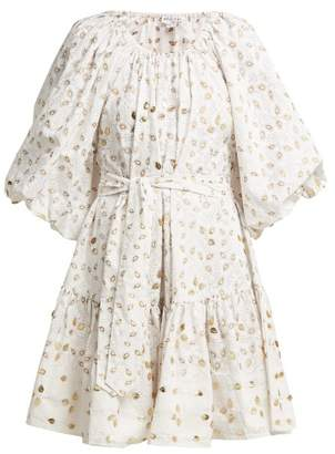 Juliet Dunn Leaf Print Sequin Embellished Dress - Womens - White Multi