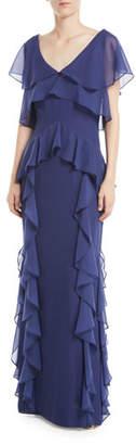 Parker Black Nia Draped-Ruffle Combo Gown