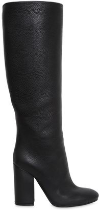 100mm Grained Leather Boots $606 thestylecure.com