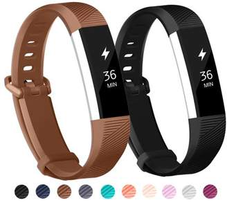 Fitbit POY 2-Pack Replacement Sport Wrist Strap Bands for Alta Alta HR (Black, Coffee)
