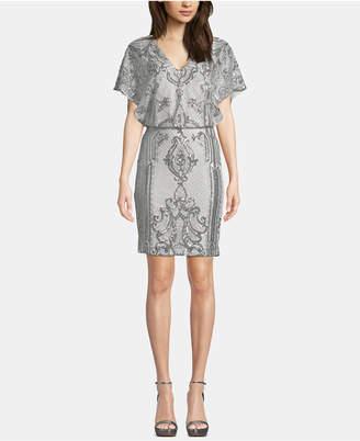 Betsy & Adam Sequin Short-Sleeve Blouson Dress