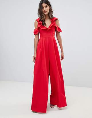 Asos DESIGN Jumpsuit with Structured Ruffle Detail