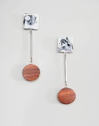 Whistles Wood and Marble Drop Earrings
