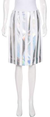 Jonathan Saunders Holographic Striped Knee-Length Skirt
