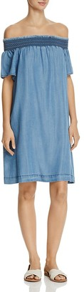 AQUA Chambray Off-the Shoulder Dress - 100% Exclusive $88 thestylecure.com
