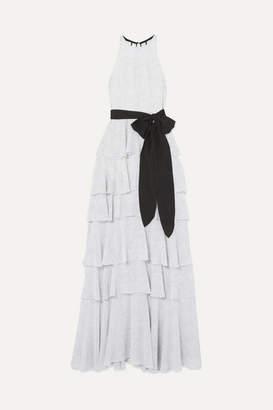 Halston Tiered Polka-dot Chiffon Gown - Off-white