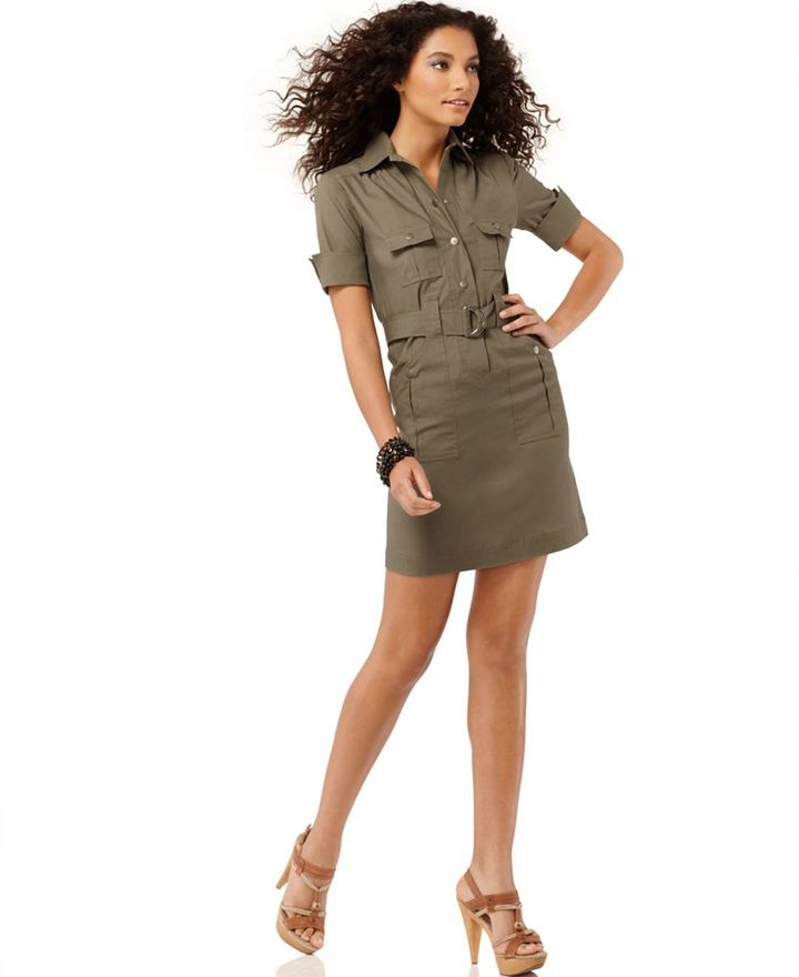 AGB Dress, Short Sleeve Belted Military Shirtdress