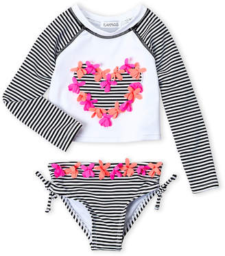Flapdoodles Toddler Girls) Stripe Heart Long Sleeves Tankini Set