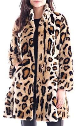 Fabulous Furs Faux Fur Leopard Swing Coat