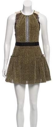 Three floor Metallic Lace-Trimmed Dress