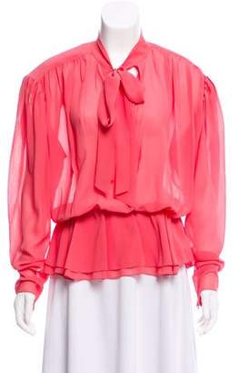 Balenciaga Long Sleeve Silk Top