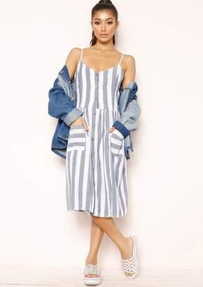 6284b9e4457 Missy Empire Missyempire Tammy Blue Stripe Wooden Button Dress
