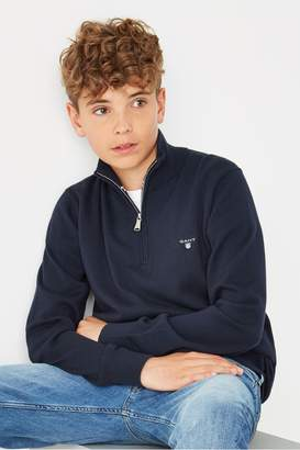 Gant Boys Boys Lightweight Cotton Half Zip Jumper - Blue
