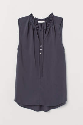 H&M Tie-collar Viscose Blouse - Gray