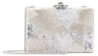 Oscar de la Renta Sequin-Embroidered Satin Rogan Clutch